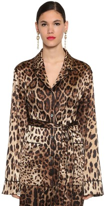 Dolce & Gabbana PRINTED SATIN SHIRT W/ BELT