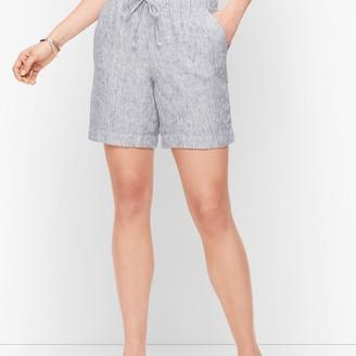 "Talbots Linen Beach Shorts - 6"" - Stripe"