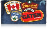 DSQUARED2 Denim Destroyed Clutch w/Patches