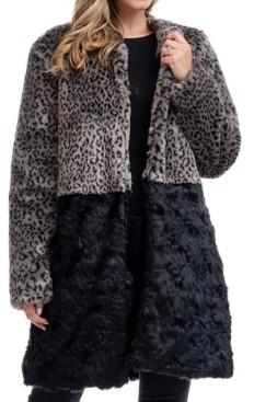 Fever Blocked Faux Fur Coat