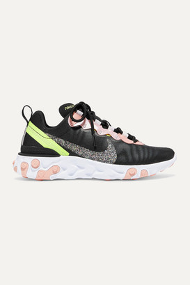 Nike React Element 55 Glittered Canvas And Faux Leather Sneakers - Black