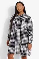 Thumbnail for your product : boohoo Plus Gingham Woven Smock Shirt Dress