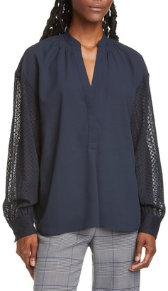 Club Monaco Lace Sleeve Top