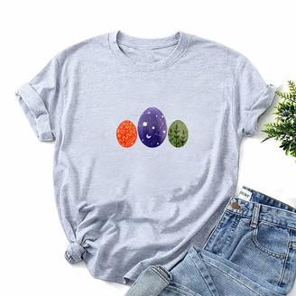 Ematop Womens Tops Easter Graphic Print Short Sleeve T-Shirts Summer Casual Loose Tunic Teen Girls Solid Color Pullover O-Neck Funny Blouse Gray