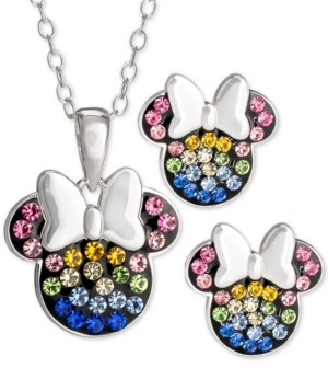 Disney Children's 2-Pc. Set Crystal Multicolor Minnie Mouse Pendant Necklace and Stud Earrings in Sterling Silver