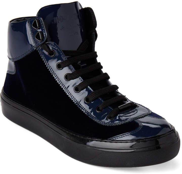 Jimmy Choo Dark Ocean Argyle Velvet Mid-Top Sneakers