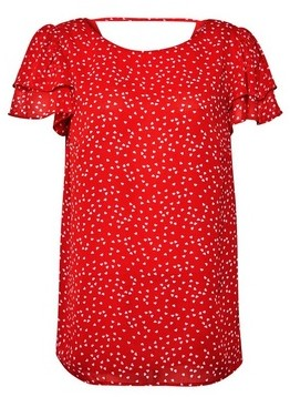 Dorothy Perkins Womens **Tall Red Ruffle Blouse, Red