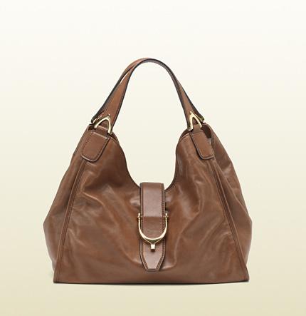 Gucci Soft Stirrup Washed Leather Shoulder Bag