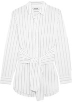Madewell Tie-front Pinstriped Cotton Shirt - small