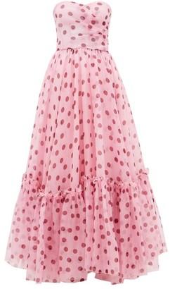 Dolce & Gabbana Polka-dot Corset Silk-organza Gown - Womens - Pink Multi
