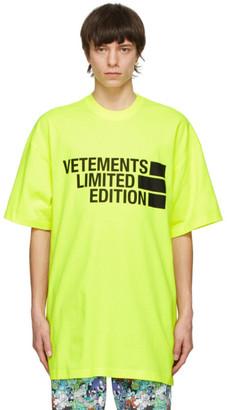 Vetements Yellow Big Logo Limited Edition T-Shirt