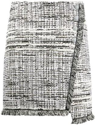 Pinko Asymmetric Woven Mini Skirt