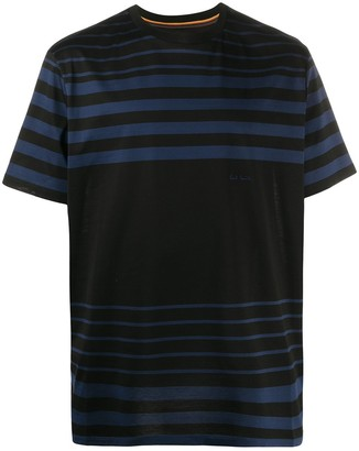 Paul Smith striped logo embroidered T-shirt