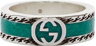 Gucci Green Interlocking G Enamel Ring