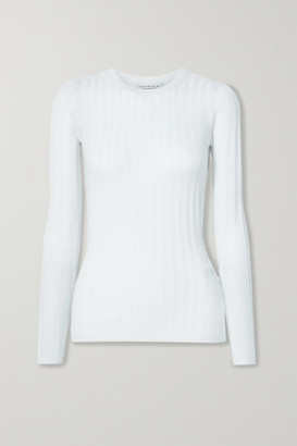 Gabriela Hearst Collins Ribbed Pointelle-knit Cashmere And Silk Blend Top - Ivory