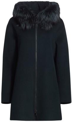The Fur Salon Fox Fur-Trim Hooded Wool Coat