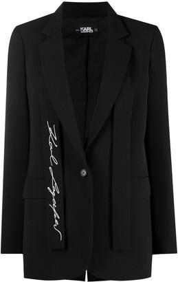 Karl Lagerfeld Paris Logo Embroidered Tailored Blazer