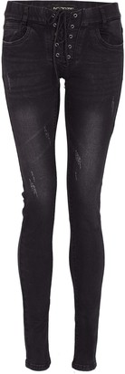 NOROZE Womens Ripped Skinny Jeans Studs Sequin Lace Up Pants (Skull Black ST102 10)