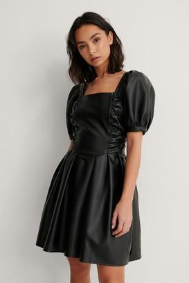 NA-KD Short Puff Sleeve PU Dress