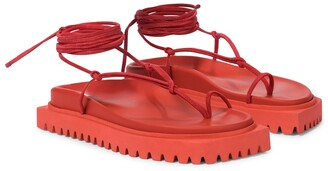 ATTICO Lace-up leather thong sandals