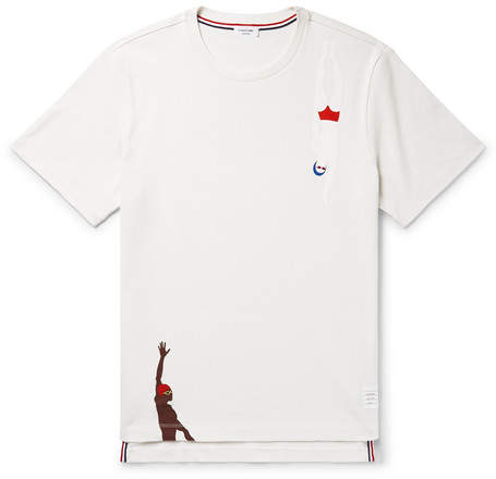 Thom Browne Printed Grosgrain-trimmed Cotton-jersey T-shirt - White