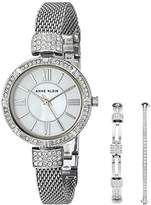 Anne Klein Women's AK/2845SVST Swarovski Crystal Accented -Tone Mesh Bracelet Watch and Bangle Set