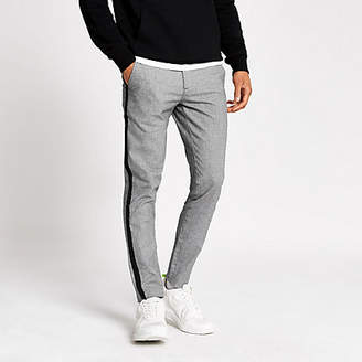 River Island Grey striped skinny tape side trousers