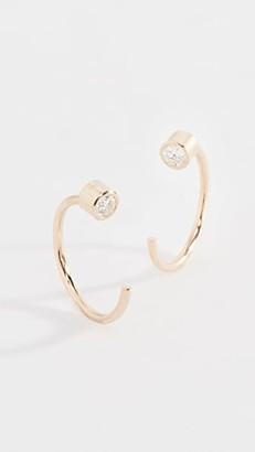 Chicco Zoe 14k Gold Reversible Bezel Diamonds Huggie Earrings