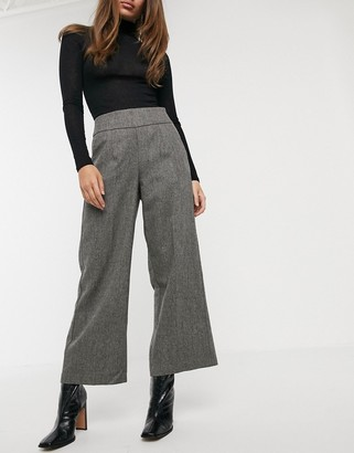 Y.A.S tailored trouser with wide leg in grey herringbone