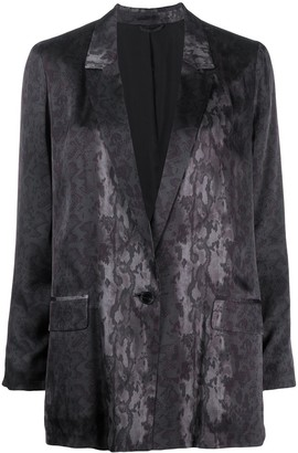 AllSaints V-neck leopard print blazer