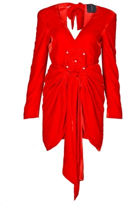 Rue Agthonis Red Velvet & Diamond V-Neck Dress With Raw Edges