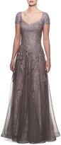Thumbnail for your product : La Femme V-Neck Cap-Sleeve Tulle & Lace A-Line Gown