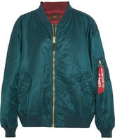 Vetements + Alpha Industries Reversible Oversized Satin Bomber Jacket - Petrol