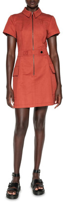 Cue Cotton Linen Twill Utility Dress