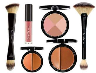EVE PEARL 6 Pcs Flawless Face Collection Foundation Concealer Blush Lipstick And Brushes Set All In One Must Have Makeup Kit (Dark)
