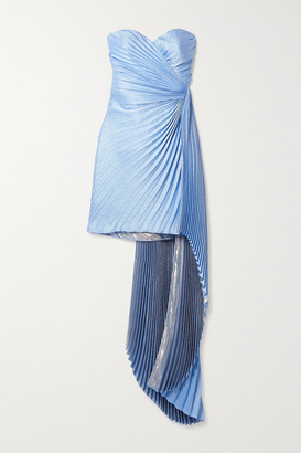 Semsem Draped Pleated Metallic Silk-blend Crepe Mini Dress - Light blue