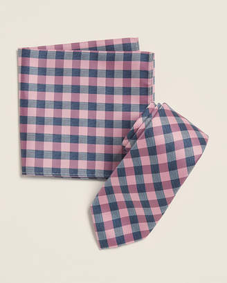 Nautica Two-Pack Pink Vilsandi Square Pattern Tie & Hanky