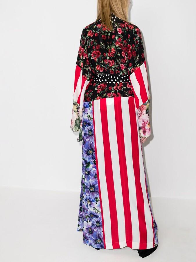 Thumbnail for your product : Dolce & Gabbana Black Patchwork Print Silk Kimono