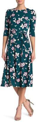 Brinker & Eliza Printed Quarter Sleeve Floral Midi Dress