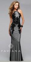 Faviana Fishnet Lace Applique Prom Dress