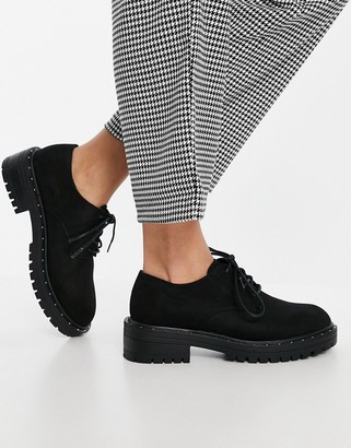 Schuh Leona lace up shoes in black suedette
