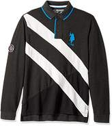 U.S. Polo Assn. Men's Slim Fit Color Block Long Sleeve Pique Polo Shirt