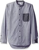 William Rast Men's Wyatt Stand Collar Button Down Shirt