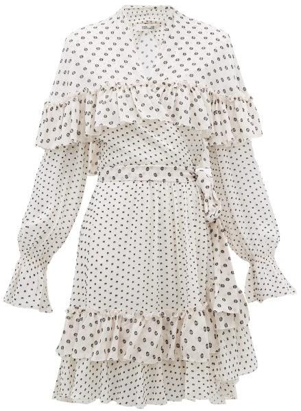 Diane von Furstenberg Martina Ruffled Fil-coupe Chiffon Wrap Dress - Womens - White Black