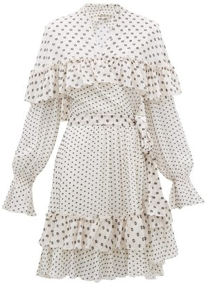 Diane von Furstenberg Martina Ruffled Fil Coupe Chiffon Wrap Dress - Womens - White Black