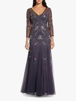 Adrianna Papell Beaded Long Dress, Gunmetal
