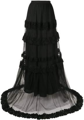 Ingie Paris embroidered flared maxi skirt