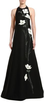 Valentino Embroidered Wool-Silk Flower Gown