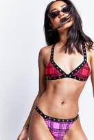 Jaded London **Check Print Studded Bikini Bottoms