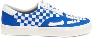 Amiri Skeleton And Checkerboard Cotton-canvas Trainers - Blue White
